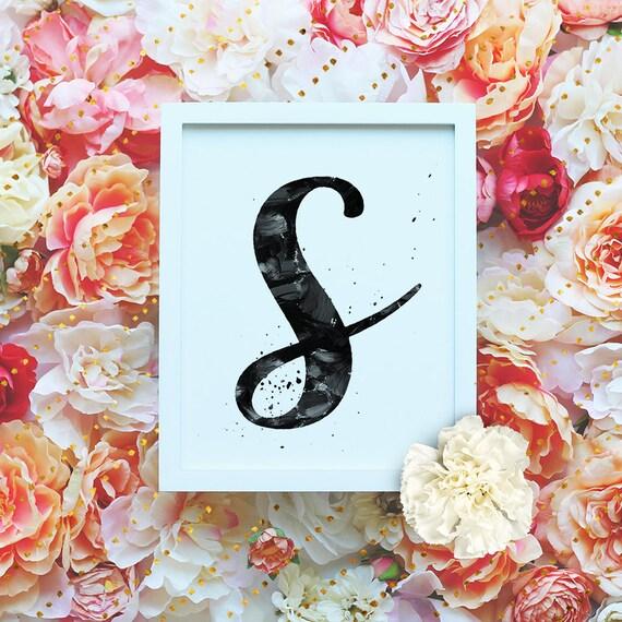 "Monogram Letter ""S"" Printable Wall Art - 8x10"" - ""S"" Name Art Print- Initial Poster- B&W Typographic Monogram - Dorm Decor"