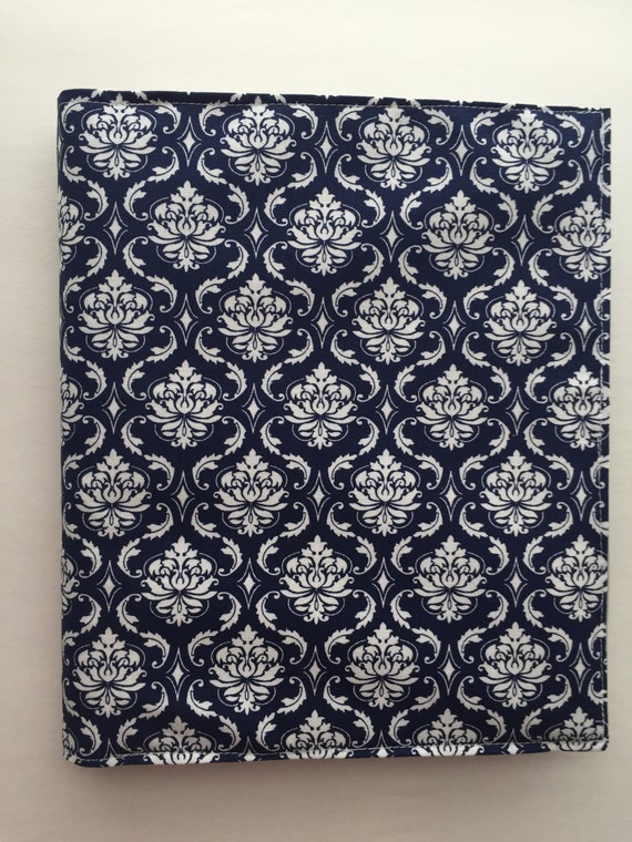 Happy Planner fabric cover - navy with gray anchors