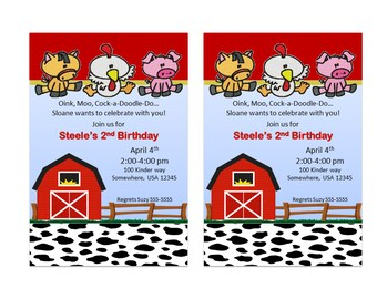 Farm Birthday Invitation with Cupcake Topper