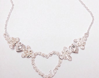 Rose Love heart pendant necklace with Swarovski heart crystals