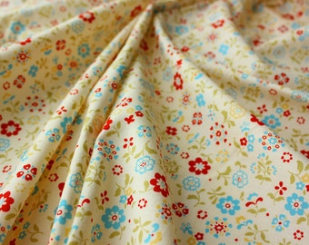 Lecien Fabric / Japanese Fabric / Floral Fabric / Little Ice Blue and Red Flowers / Craft Patch Quilt / Rare / Fat Quarter of a Metre