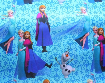 Disney Frozen Fabric / Anna Elsa Olaf / Ice Blue / Cotton Sateen Satin / Wide Fabric / Cover Sleeve Sheet Pajamas Gown / Half Metre