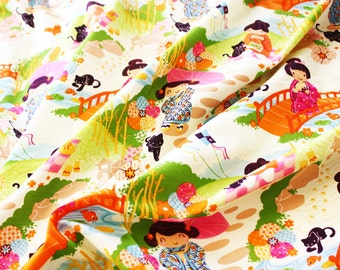 Alexander Henry Fabric Aoi Has 2 Sisters 100% Cotton 0.5m White Japanese Cute Kawaii Print Design