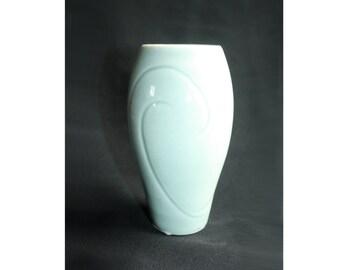 1007 Blue Celadon Carved Transulcent Porcelain Waves Vase - Narrow