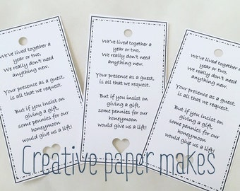 Wedding Gift Poems For Vouchers : Wedding Money Gift Poem. Honeymoon, request, wedding card favour tags ...