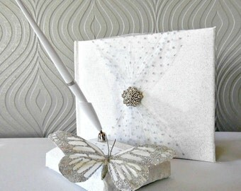 White and Silver Glitter Butterfly Guestbook and Pen Set