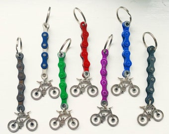 Mountain Bike Keychain Keyring Key Fobs Gift for Cyclist Bicycle Rider made from Upcycled Bike Parts Tour Cyclist Present