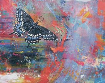 Black Swallowtail Butterfly Ceramic Tile, Flight to Joy