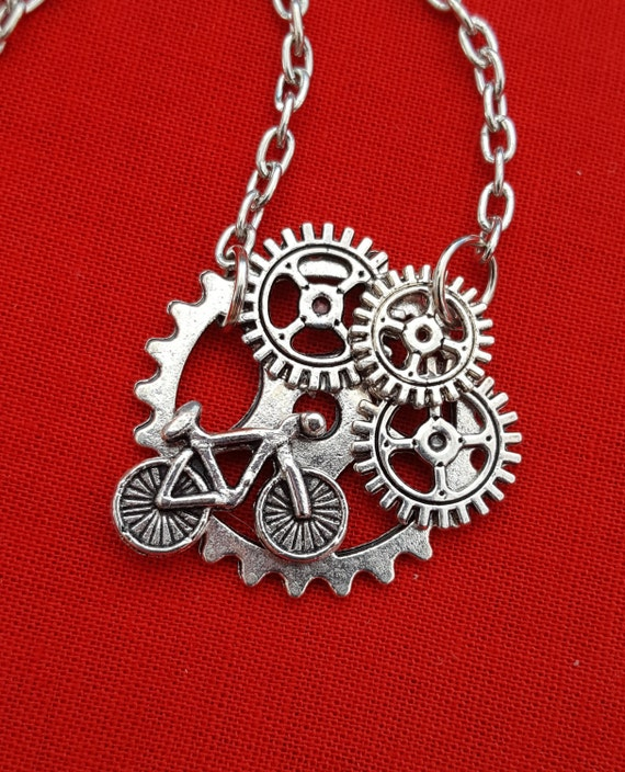 Bike Gear Necklace, Steampunk Gear Jewelry, Steampunk, Bicycle Charms, Bike Team Gifts, Cycling Team Gifts, Coach Trainer Steampunk Gifts