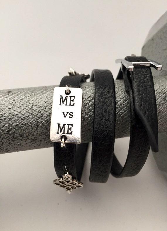 Crossfit Jewelry,  Fitness Runner Gift, Sports Charms, Leather Belt Bracelet, Me vs Me Wrist Wrap Bracelet, Motivational Inspirational Gifts