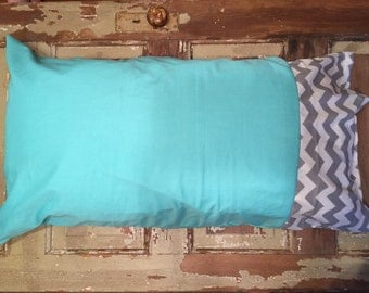 Teal with Gray/White Chevron Pillowcase