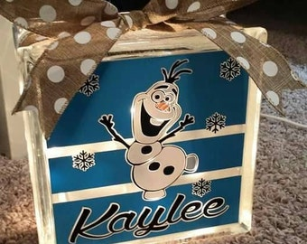 Personalized 8x8 Olaf lighted glass block