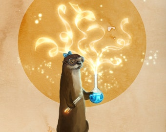 Otter Doing Science art print // pigment print, archival, 8x10 11x14 // otter with a beaker and test tube // geeky gifts, kids' room
