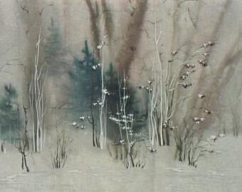 "Picture "" March morning "" - silk, batik,  30x 40 cm, Картина « Мартовское Утро» -  шелк, краски для батика,  30х 40 см,  в рамке."
