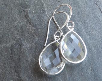 SALE 40% OFF Crystal quartz sterling earrings / Teardrop crystal quartz earrings / Wedding earrings
