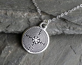 Celtic Labyrinth Necklace / Silver Labyrinth Necklace / Yoga Necklace / Sterling silver chain