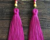 Summertime Tassel earrings, Women's earrings, Yellow earrings, Pink earrings, Boho earrings, Dangle earrings, Handmade, Beaded earrings