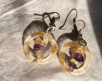UV crystal Earrings Peach