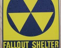 Vintage original Fallout shelter metal sign nice!