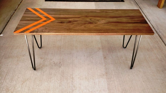 Mid Century Modern Coffee Table With Hairpin Legs - Modern Coffee table- Modern Bench- Orange Chevron- Walnut Bench -
