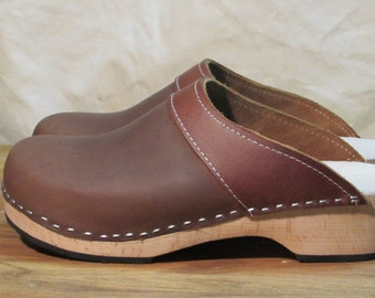 handmade brown leather clogs