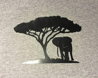 African Elephant under an Acacai tree