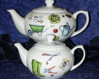 Gardening Teapot. 2 cup or 6 cup gardening design teapot