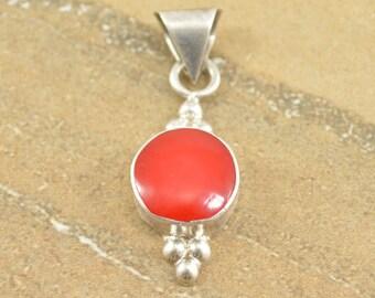 Round Red Bezel Set Modern Dot Detail Pendant Sterling Silver 3.3g Vintage Estate