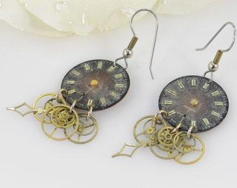 Unique Steampunk Clockwork Motif Hook Back Earrings Silver 4.8g Vintage Estate