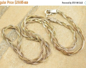 ON SALE Braided Wheat Palma Chain Necklace Sterling Silver 8.2g Vintage Estate