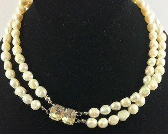 White Tahitian Pearl Dual Strand Necklace with Vintage Rhinestone Clasp