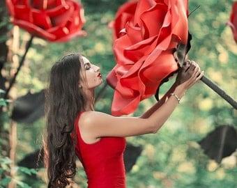 Giant Rose Flower - Huge Oversized Big Scarlet Rose Photo Prop Floral