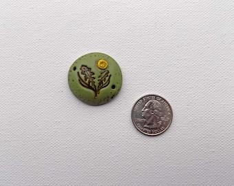 Dandelion Bead, Flower Art Bead,  Boho Focal Bead, Flower Focal Bead, Rustic Focal Bead, Flower Connector, Bracelet Connector