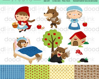 SALE 50%!!! Cute Little Red Riding Hood Digital Clipart/Girl & Wolf Clip Art/Digital Paper For Personal and Commercial Use /INSTANT DOWNLOAD