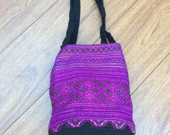 Purple Chic Bohemian Shoulder Bag, Hand embroidered Hmong Bag, Ethnic boho bag, Tribal Chic bag