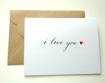 I Love you Valentine's card blank with envelope