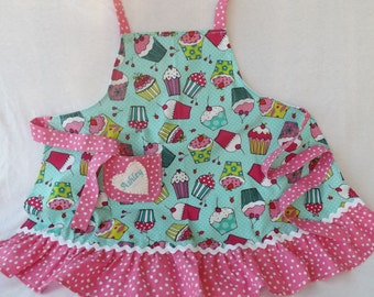 Child's Apron in 5 designs, Toddler's Apron, Cupcake Apron, Ruffled Apron, Child's Cupcake Apron, Photo Prop, Play Kitchen Accessory