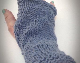 Denim fingerless gloves Patterned denim cotton gloves Fingerless knitted gloves