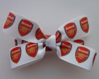 Arsenal football club hair bow/Arsenal F.C hair bow/premier football club bow/arsenal hair bow/Arsenal football club/footie hair bow/footie