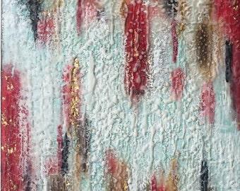 "Original Encaustic Art ""Between Breaths"" 120x10""  abstract mixed media encaustic painting"