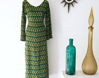 Vintage 1970s chevron print maxi dress Missoni style