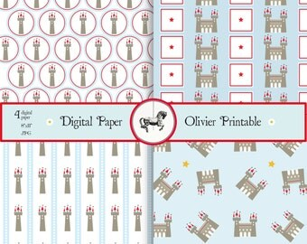 Castle Digital Paper // Instant Download // DIY // Scrapbook // Craft //Kids