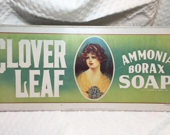 Vintage Reproduction Advertising Sign - Cloverleaf Soap - Metal