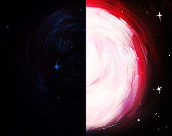 Glow in the Dark Galaxy Painting. Original Acrylic on Canvas. UK Artist.
