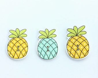 Button Lot of 3 Polka Dot Pineapples - Tropical Scrapbooking Supplies Embellishment Buttons- Flat Back Wood Shankless Craft Button
