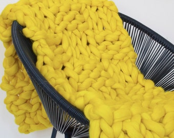 Yellow merino wool blanket, Chunky knit blanket, Merino wool, Wool throw, Chunky blanket, Giant knit blanket, Grande Punto, Knitted blanket