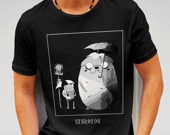 Adventure Time Vs Totoro Tshirt - Black