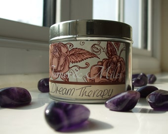 Dream Therapy Scented Crystal Candle - Mugwort, Clary Sage, Chamomile, Jasmine & Amethyst