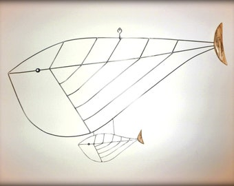 Wire / Wood Sculpture - Blue Whale w Baby