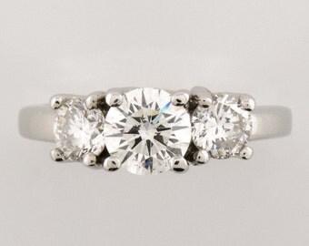 3 Stone Diamond Platinum Ring-EGL-SI1 Color-H
